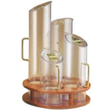 Cal-Mil® 723-53 Turntable 4-Cylinder Cereal Dispenser w/ Wood Base