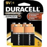 Duracell CopperTop™ 4 Pack 9V Batteries