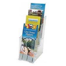 Clear Plastic 4-Tier Brochure Holder, 4-3/8""