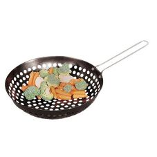 Fox Run 5459 Perforated Barbecue Stir Fry Wok with Non-Stick Handle