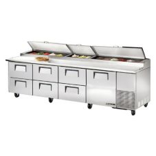 True® 1-Door 6-Drawer S/S Pizza Prep Table w/ White Alum. Interior
