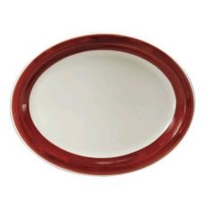 Oneida R4128079359 Jubilee Ivory / Raspberry Oval Platter - 24 / CS