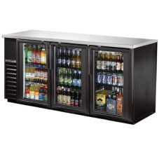 True TBB-24-72G-LD Black 3-Glass Door Back Bar Cooler For (84) 6-Packs