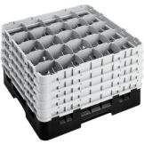Cambro 25S1058110 Black 25 Comp / 5 Ext.  Full Glass Rack - 2 / CS