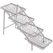 "Dover Metals D-6054NB Nickel 4-Tier Amenity Stand With 6"" x 9"" Baskets"