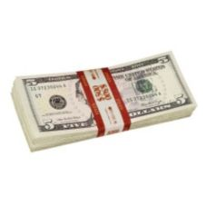 Red Currency Strap for $5.00 Bills