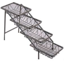 "Dover Metals D-6054SB Steel 4-Tier Amenity Stand With 6"" x 9"" Baskets"
