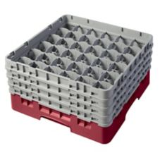 Cambro 36S800416 Cranberry 36 Compartment Camrack with 4 Extenders