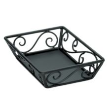 "Delfin BK-129SF 12"" x 9"" x 2"" Black Steel Santa Fe Basket - 4 / CS"