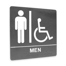 "Kroy Sign Systems 2385231 Gray 8"" x 8"" Men Restroom Sign"