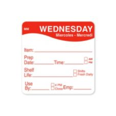 "DayMark 1122123 MoveMark 2"" Wednesday Shelf Life Day Square - 500 / RL"