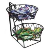 "Cal-Mil 1292-2 Black 2 Tier 12 x 15"" Display Rack w/ Round Basket"