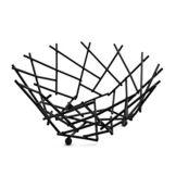 "American Metalcraft FRUB12 Black 8"" Round Thatch Basket"
