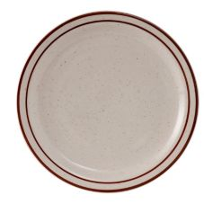 "Tuxton TBS-008 Bahamas 9"" Eggshell Plate With Brown Bands - 24 / CS"