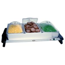 Cadco WTBS-3P Stainless Steel Triple Buffet Sever with Clear Lids