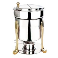 Eastern Tabletop S/S 7 Qt. Marmite Soup Chafer with Brass Accents