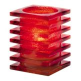 Hollowick® 1501R Ruby Stacked Square Block Glass Lamp