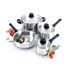 Regalware® S/S 7 Piece Cookware Set with Glass Covers