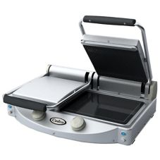 Cadco CPG-20 Double Panini / Clamshell Ribbed Top Surface Grill