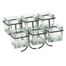 Cal-Mil 1809-13 Black Steel Frame Condiment Display with 6 Glass Cubes