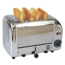 Cadco CTS-4(220) Mica Stainless 4-Slot 220V Toaster Plus