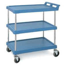 Metro® BC Series Blue 3-Shelf Polymer Bussing Cart