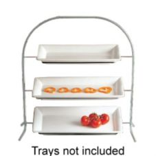 Bon Chef 7002GR Gray 3-Tier Display Stand for Rectangular Display Pans