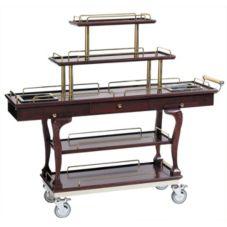 "Bon Chef 50060 Mahogany 5-Tier 62"" Dessert Cart w/ Brass Handles"
