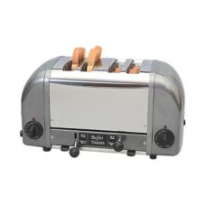 Cadco CBF-4M Stainless / Metallic Grey 4-Slot Buffet Toaster