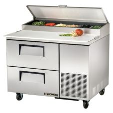 True® 2-Drawer S/S Pizza Prep Table w/ White Alum. Interior