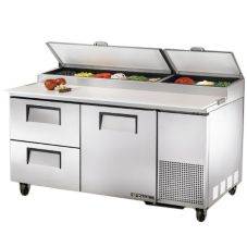 True® S/S 1-Door 2-Drawer Pizza Prep Table w/ White Alum. Interior