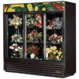 True® Black Glass Swing Door Floral Case Refrigerator, 69 Cubic Ft
