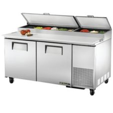 True® TPP-67 Stainless Steel 2-Door 4-Shelf Pizza Prep Table