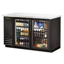 True TBB-2G Black 2-Glass Swing Door Back Bar Cooler For 134 6-Packs