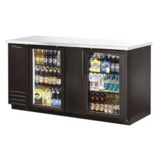 True TBB-3G-LD Black 2-Glass Door Back Bar Cooler For (112) 6-Packs