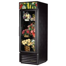 True® Black Glass Swing Door Floral Case Refrigerator, 23 Cubic Ft
