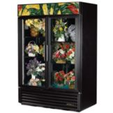 True® Black Glass Swing Door Floral Case Refrigerator, 49 Cubic Ft