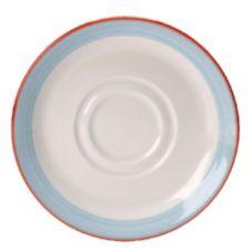 "Steelite 15310165 Rio Blue 4-5/8"" Double Well Saucer - 36 / CS"