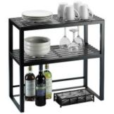 "Cal-Mil 1254 Iron Collection 24 x 24 x 12"" 2 Tiered Shelf"