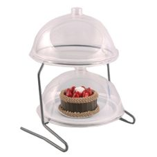 Dover Metals D-6040SD Steel Turn And Serve 2-Tier Stand With 2 Domes