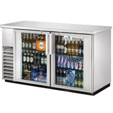 True® Black 2-Sliding Glass Door Back Bar Cooler for 3 Half Kegs
