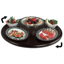 "Gourmet Display® 36"" Epic Edge Black Lazy Susan Round Tray"