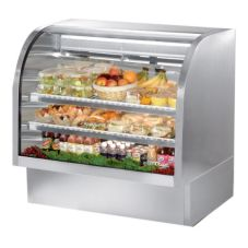 True® TCGG-48-S S/S 23.5 Cu Ft Curved Glass Refrigerated Deli Case