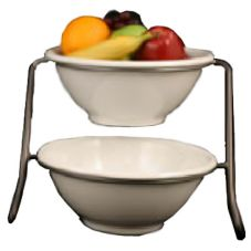 Dover Metals D-6033ASB Small Steel Bowl Stand With 2 Melamine Bowls