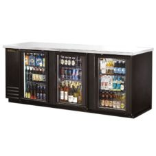 True® Black 3-Glass Swing Door Back Bar Cooler for 209 6-Packs