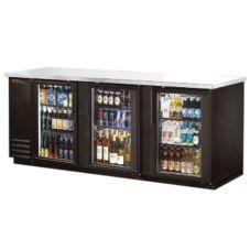 True TBB-4G-LD Black 3-Glass Door Back Bar Cooler For (152) 6-Packs