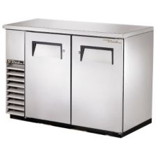 True® S/S 2-Solid Door 4-Shelf Back Bar Cooler for 82 6-Packs
