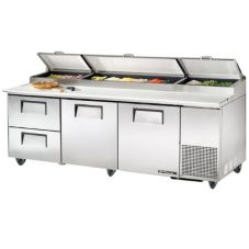 True® S/S 2-Door 2-Drawer Pizza Prep Table w/ White Alum. Interior