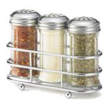 Tablecraft 2 Oz Glass Condiment Dispenser Set with Chrome Plated Rack
