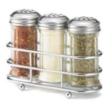 TableCraft 659N 2 Oz. Glass Condiment Dispenser Set with Rack